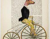 5 deer on a motorbike - ORIGINAL ARTWORK Hand Painted Mixed Media on 1920 famous Parisien Magazine 'La Petit Illustration' by Coco De Paris. $12.00, via Etsy.