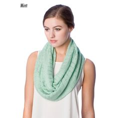 SS2563 FINE TEXTURED FABRIC INFINITY SCARF - MINT