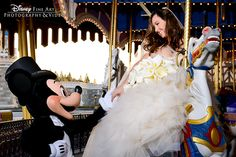 This Walt Disney World bride had a very special guest at her Magic Kingdom portrait session!