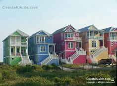 Rainbow beach cottages...Of course I'm partial to the yellow one.