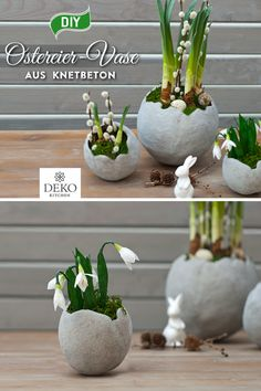DIY: make stylish Easter egg vases from kneading concrete - Super stylish egg-shaped vases can be made from kneading concrete! Paper Flower Garlands, Large Paper Flowers, Tissue Paper Flowers, Paper Flower Wall, Paper Peonies, Paper Roses, Hoppy Easter, Easter Eggs, Fleurs Diy