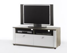 tv kommode montera i hochglanz weiss und san remo eiche passend zum mobelprogramm montera 1 x tv kommode mit 2 schubkasten und 2 receiverfachern masse