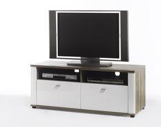 TV Kommode Montera I Hochglanz Weiß und San Remo Eiche passend zum Möbelprogramm Montera 1 x TV Kommode mit 2 Schubkästen und 2 Receiverfächern Maße:...