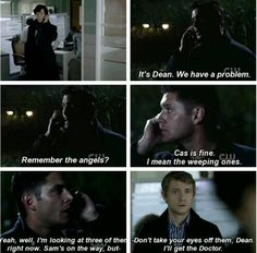 dean calling sherlock about the weeping angels superwholock Supernatural Crossover, Supernatural Fandom, Sherlock Fandom, Sherlock Bbc, Johnlock, Destiel, Virginia Woolf, Fandom Crossover, Nerd Geek