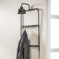 Industriële kapstok met lamp Blockdesign