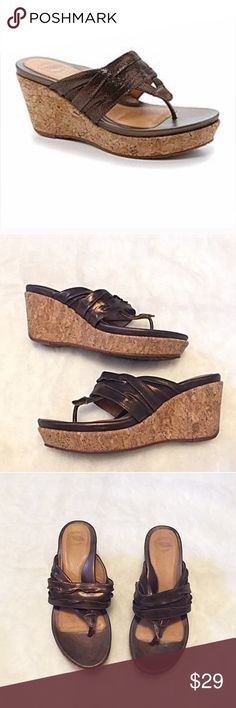 """❣BOGO 1/2 off❣Nurture leather wedge thong sandals 8.5M, true to size. """"Geovanna"""" style. Leather bronze upper, cork bottoms. 3"""" wedge including 1"""" front platform. Barely worn once & flawless. ✖️I do NOT MODEL✖️ 🔴Bundle to save! 🔴REASONABLE offers welcome via offer button. Smoke-free home. Fast shipping! Nurture Shoes Wedges"""