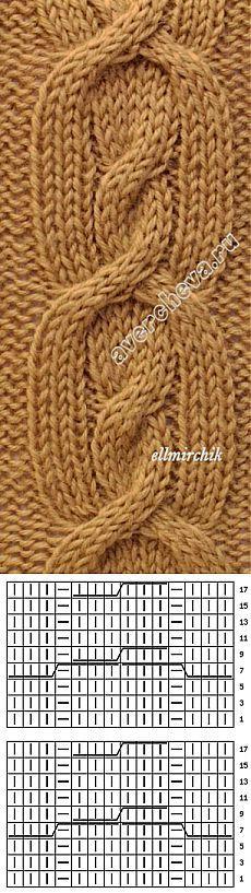 Узор: коса из 14 петель. Knitting Stiches, Cable Knitting, Knitting Patterns, Crochet Patterns, Different Patterns, Home Crafts, Crochet Projects, Knit Crochet, Fancy
