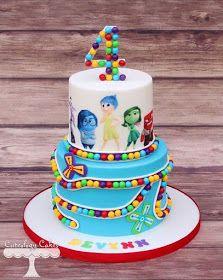 Trendy Birthday Cake Kids Disney Inside Out Pretty Cakes, Cute Cakes, Beautiful Cakes, Amazing Cakes, Fondant Cakes, Cupcake Cakes, Inside Out Cakes, Character Cakes, Disney Cakes