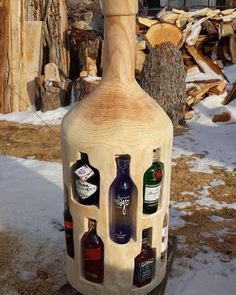 bottle from wood with woodworking plans! ↪️CLICK PICTURE↩️ for *Projects with step-by-step plans. Each of the projects are detailed enough to leave nothing to guesswork yet simple enough for beginners. *not every pic or post is in the wood plans package Woodworking Projects Diy, Welding Projects, Diy Wood Projects, Woodworking Shop, Wood Crafts, Woodworking Plans, Woodworking Beginner, Woodworking Techniques, Unique Woodworking