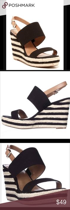 """♣️NEW♣️ Vince Camuto Loran Wedges ♣️Nautical inspiration unfolds in the Loran Wedge Sandals featuring textured straps secured with an adjustable ankle buckle strap and mounted on a striped jute-woven wedge platform. True to size, lightly padded footbed, 4"""" heel and 1"""" platform, imported. Fabric & leather upper, rubber sole. Size 9 $49  🌸 Please ask all your questions before you purchase. I'm happy😊 to help  🌸 Sorry, no trades or hold. 🌸 Please, no lowball offers. 🌸 Bundle for your best…"""