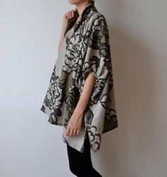 Khaki linen smock / Plus size linen top / Maternity by MuguetMilan