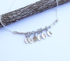 Rustic Branch With Family Leaf Initials Necklace... Mothers Grandmothers - pinned by pin4etsy.com