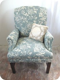 My Rustic Cottage Life: Vintage Chair ReUpholster Before and After