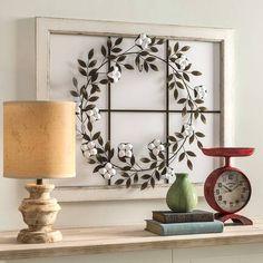 Three Posts™ Floral Wreath Wood Framed Wall Décor