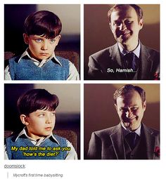 I don't ship Johnlock, (whom I'm pretty sure are the parents of Hamish) but this is hilarious beyond reason. Because if Sherlock ever did have a kid, this would happen. Sherlock Fandom, Sherlock John, Sherlock Holmes, Sherlock Humor, Sherlock Quotes, Johnlock, Detective, Fangirl, Mrs Hudson