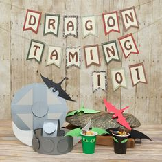 Premake the helmet and shields If you're having a dragon training party, you're gonna' need some Viking and dragon crafts. No fear, this post will have the kids taming dragons in no time! Dragon Birthday Parties, Dragon Party, Birthday Ideas, Craft Party, Diy Party, Toothless Party, Viking Birthday, Dragons 3, Viking Party