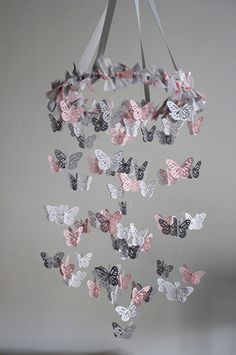 butterfly nursery mobile pink grey white mobile so cute butterfly nurserybutterfly mobilebaby girl - Baby Girl Room Chandelier