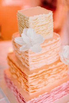 Pink & Orange Frills Wedding Cake   Cake by Cake Whisperer