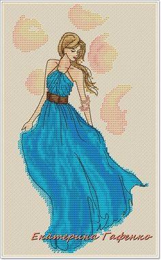 0 point de croix fille en robe bleue - cross stitch girl in blue dress