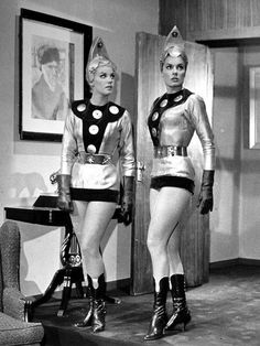 Two members of the vanguard force from planet Sibila in the 1965 sci-fi fantasy, Planet of the Female Invaders (AKA: El Planeta de las Mujeres Invasoras) - Mexico