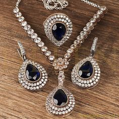 Hurrem Sultan Set with Necklace Tear Drop Sapphire Color Ottoman Jewelry 925 SS