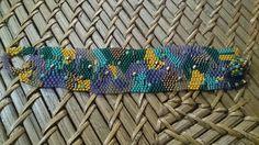 Freeform bracelet with Toho beads, firepolish, hematit