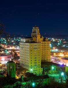 The Baker Hotel, as seen from N. Avenue, Mineral Wells - The ritziest part of town is the northeast side, on the top of a steep hill.