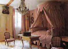 Ted and Lillian Williams restored French Folly - Chateau de Morsan built circa 1736 Normandy, France. Image from Book Judith Miller's COLOR Swedish Cottage, French Cottage, Cottage Pie, French Country Bedrooms, French Country Style, French Decor, French Country Decorating, Bed Crown, Cosy Bed