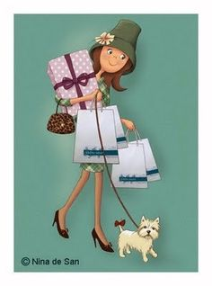 Nina de San - Let's go shopping! Marquis, Creation Photo, Fun Illustration, Holly Hobbie, Art Graphique, Copics, Whimsical Art, Images Gif, Paper Dolls