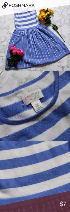 Children's Place Blue and White Girls Dress 5/6 Blue and white children's place dress size 5/6, dress has been worn once. As pictured closely on the last two photos there  are TWO barely noticed tiny stains I nearly recognized them when taking the photo. Children's Place Dresses Casual
