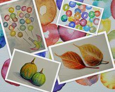 Tekenmaar volwassenen: aquarel oefeningen en kleurpotlood.