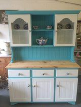 Welsh Dresser painted in Victoria White chalk paint & Turquoise Chalk paint and waxed to a good finish.