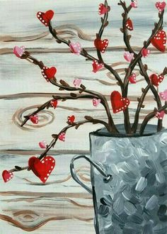 """Paint """"Sweetheart Branches"""" at Easy Canvas Painting, Winter Painting, Heart Painting, Love Painting, Painting & Drawing, Acrylic Paintings, Painted Canvas, Valentine Picture, Valentines Art"""