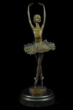 Statue Figurine Signed Milo Balanced Ballerina Large Bronze Sculpture Figure Art in Collectibles, Metalware, Bronze   eBay