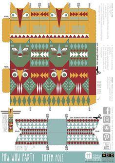 Pow Wow Party Free Printable - Totem Pole