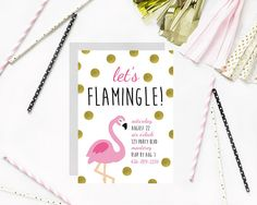 lets flamingle customizable party invitation by little lemon design co on etsy gold foil - Customized Party Invitations