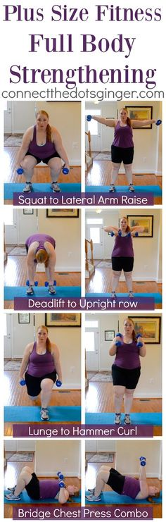 Plus size fitness. Try these combo exercises for a Total body strengthening workout!   at home fitness