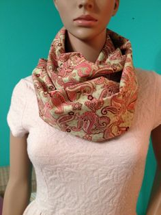 Your place to buy and sell all things handmade Paisley Color, Paisley Scarves, Spring Colors, Pink And Green, Infinity, Fabric, Cotton, Beautiful, Shopping