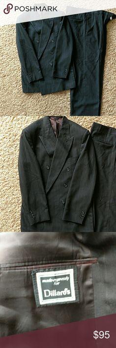Dillards Two piece Men's Suit Black pinstripe suit....Waist is 36 length is 34 riserva Suits & Blazers