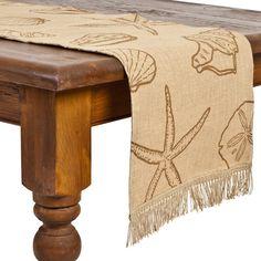 Brown Shell Table Runner: Coastal Home Decor, Nautical Decor, Tropical Island Decor