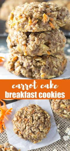 Thick, soft, and full of fresh carrot and apple, these Carrot Cake Breakfast Cookies are the best healthy make ahead breakfast or snack! These homemade oatmeal cookies are perfect for kids' lunchboxes. Easy to make and gluten free recipe. Homemade Oatmeal Cookies, Oatmeal Breakfast Cookies, Carrot Cookies, Breakfast Cake, Healthy Breakfast Cookies, Healthy Cookies For Kids, Healthy Oatmeal Cookies, Apple Breakfast, Carrot Cake Oatmeal Cookies Recipe