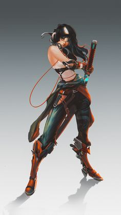 00125 - Character Concept Art by Vietnam based concept artist and illustrator Fox Name). Female Character Design, Character Creation, Character Design References, Character Design Inspiration, Game Character, Character Concept, Concept Art, Cyberpunk Art, Cyberpunk Character
