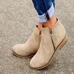 Women Gladiator Flat Slip On Suede Ankle Boots Loafers Zipper Shoes Gothic Punk in Clothing, Shoes & Accessories, Women's Shoes, Flats & Oxfords Flat Heel Ankle Boots, How To Wear Ankle Boots, Heeled Boots, Shoe Boots, Women's Shoes, Flat Shoes, Shoes Sneakers, Loafer Shoes, Fancy Shoes