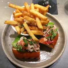 Suggestion for the #weekend: pop in to @holtscafevancouver at #Vancouver @holtrenfrew new #men section. #Lobster rolls with Parmesan #fries.  #lunch #food #foodie #chic #stylish #holtrenfrew #seafood #frenchfries #vancouver #travel #cafe