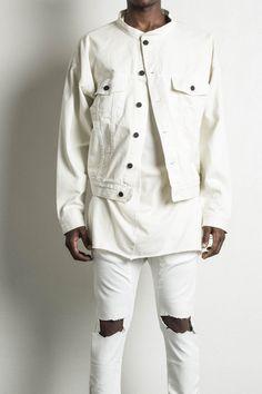 "natural oversized denim jacket 98% cotton / 2% spandex signature rear center yoke panel distressed elbow matte black buttons 12"" nickel cuff zippers the daniel patrick oversized denim jacket is handma"