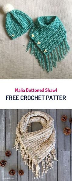Malia Buttoned Shawl Free Crochet Pattern : Free Crochet Patterns Also makes a great cowl. Malia Buttoned Shawl Free Crochet Pattern : Free Crochet Patterns Also makes a great cowl. Poncho Au Crochet, Bonnet Crochet, Crochet Beanie, Knit Or Crochet, Crochet Gifts, Crochet Scarves, Free Crochet, Crochet Clothes, Knitting Scarves