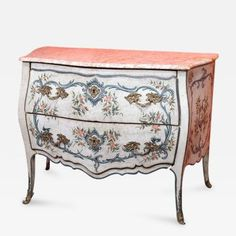 A Lacquered Wood Ligurian Commode With Rose Debrignoles Marble Top Patio Furniture Decor