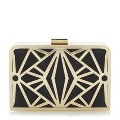 DUNE ACCESSORIES ECAGE - Cut Out Metal Detail Clutch Bag - black | Dune Shoes Online