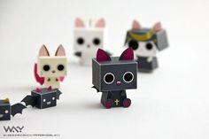 """Cube cat paper toys featuring characters from GONZO's upcoming TV anime """"…"""