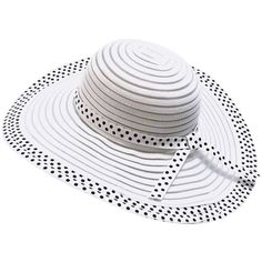 White Paper Braid Beach Sun Hat With Black Ribbon Trim